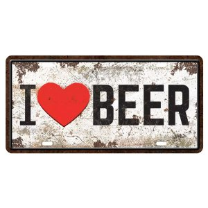 Placa decorativa I Love Beer