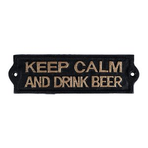 Placa decorativa Keep Calm preto