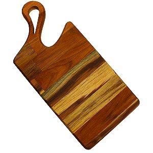 Tábua para corte de carne madeira trabalhada Teca 45x21cm