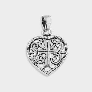 Pingente Cruz Coração em Prata 925