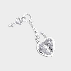 Charm Cadeado Coração em Prata 925