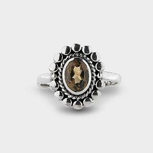 Anel Oval em Prata 925 e Pedras Naturais