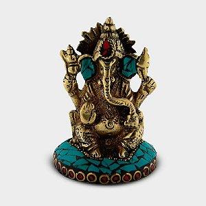 Ganesha Decorativa com Pedras Coloridas - Azul