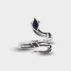 Anel Cobra Prata e Safira