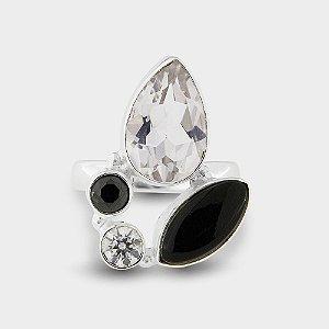 Anel Elegance em Prata com Cristal e Ônix