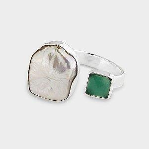 Anel em Prata com Madrepérola e Quartzo Verde