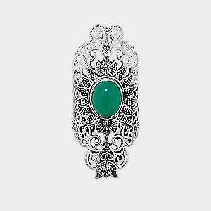 Anel Arabesco Indiano Prata 925 e Pedra Ágata Verde ou Quartzo Rosa