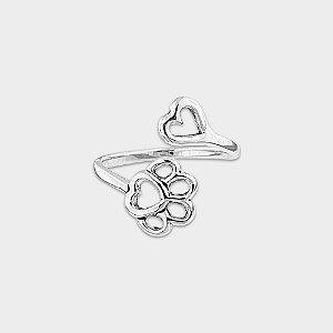 Anel Coração e Pata de Cachorro Ajustável Prata 925
