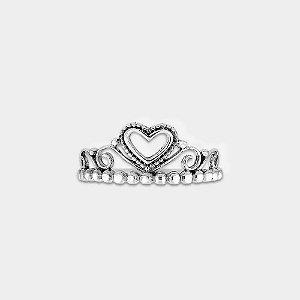 Anel Coroa e Coração Prata 925