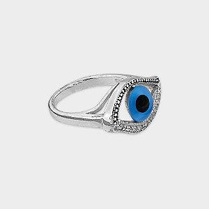 Anel Místico Olho Grego em Prata 925 e Zircônia