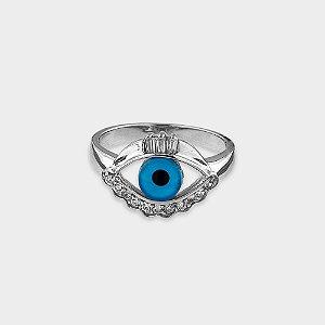 Anel Místico Olho Grego Prata 925 Zirconia