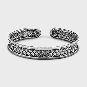 Bracelete Trançado Rústico Fino Prata 925