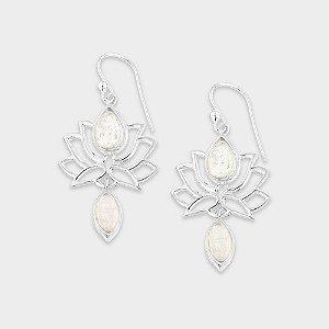 Brinco Flor de Lótus Prata 925 e 2 Pedras Naturais