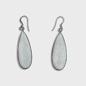 Brinco Gota Prata 925 e Pedras Naturais: Pedra da Lua e Quartzo Rosa