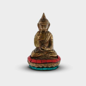 Buda Decorativo P de Metal Dourado e Colorido
