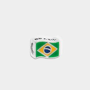 Charm Bandeira Brasil Prata 925