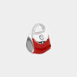 Charm Bolsa Vermelha Prata 925