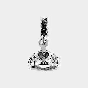 Charm Coroa Corações Prata 925