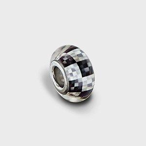 Charm Murano Quadriculado Prata 925