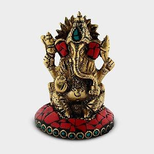 Ganesha Decorativa com Pedras Coloridas Vermelho