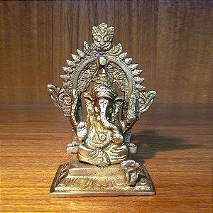 Ganesha Decorativa PP Metal Dourado