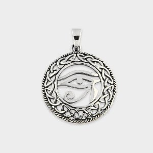 Pingente Místico Olho de Hórus e Nó Infinito Prata 925