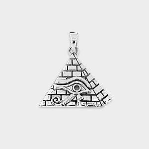 Pingente Místico Pirâmide e Olho de Hórus Prata 925