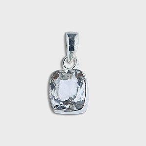 Pingente Quadrado em Prata 925 e Cristal