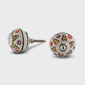 Puxador Cerâmica Mandala Colorida