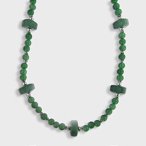 Colar em e Prata 925, Quartzo Verde e Jade
