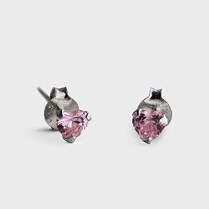 Brinco Plug Coração Rosa em Prata 925 e Zircônia