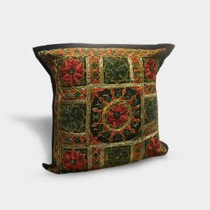 Capa de almofada com bordado indiano preta