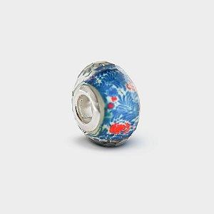 Charm Murano Azul Arabesco em Prata 925
