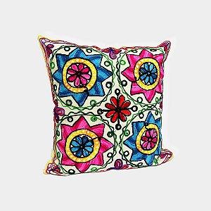 Capa de almofada com bordado indiano Flores