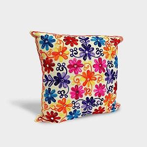 Capa de almofada Flores Arabesco com bordado indiano