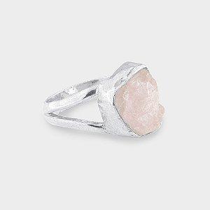 Anel Dois Aros em Prata 925 e Pedra natural Bruta em Quartzo Rosa
