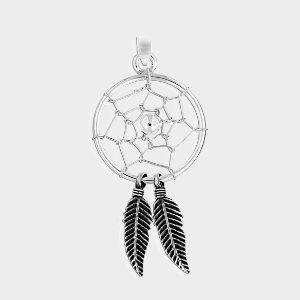 Pingente Filtro do Sonhos Duas Penas em Prata 925 e Pedras