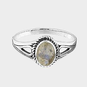 Anel Redondo em Prata 925 e Pedras Naturais