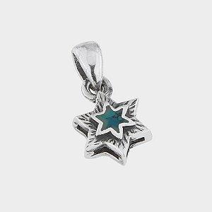 Pingente Estrela de Davi em Prata 925 e Pedra de Salomão