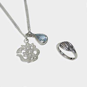 Conjunto Om em Prata 925 e Topázio Azul