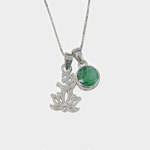 Conjunto Lotus em Prata 925 e Quartzo Verde