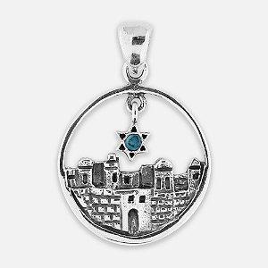 Pingente Jerusalém com Pedra de Salomão e Prata 925