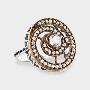 Anel Espiral em Prata 925 e Zircônia