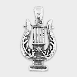 Pingente Harpa de Davi em Prata 925