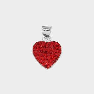 Pingente Coração em Prata 925 e Zircônia