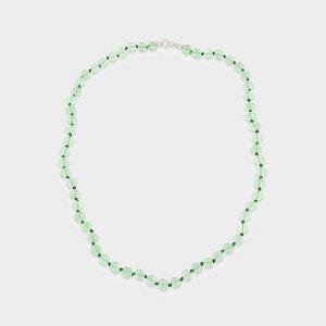 Colar Prata 925 e Quartzo Verde Claro