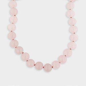 Colar Esferas Quartzo Rosa e Prata 925