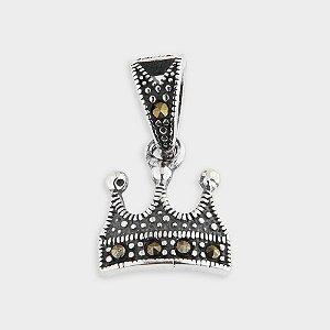 Pingente Coroa em Prata 925 e Marcassitas