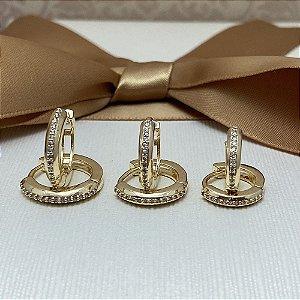 Trio de Brincos Argolinha 1 Fileira Semijoia Ouro