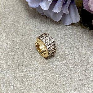 Brinco Falso Piercing Luxo Semijoia Ouro